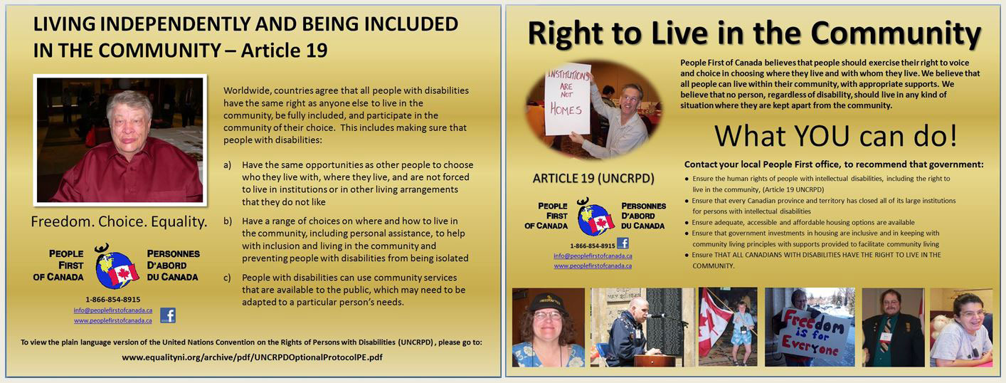The Right to Live in Community (Article 19, UNCRPD)